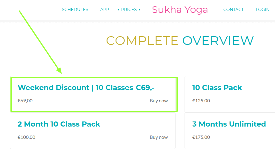 Sukha Yoga Summer Promotions - Weekend deal