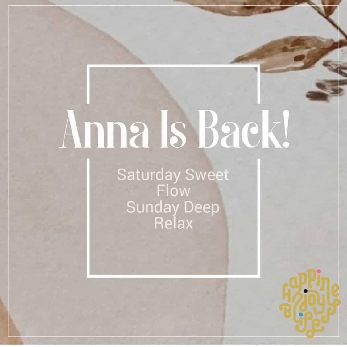 Afbeelding met de tekst - Anna is back!